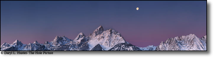 Moon over Grand Tetons at surnise