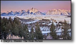 Winter sunrise, pink sky, Grand Tetons, Grand Teton National Park